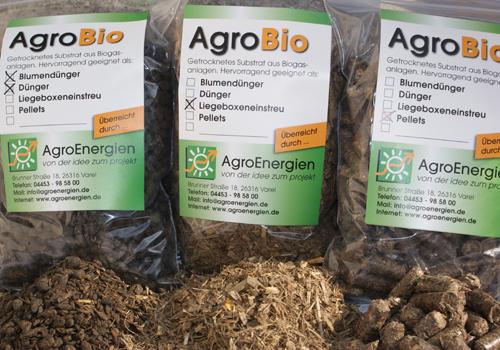 Produkte der Gärresttrocknung: Blumendünger, Dünger, Liegeboxeneinstreu, Pellets